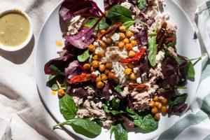 Crispy Chickpea, Tuna & Feta Mixed Leaf Noodle Salad