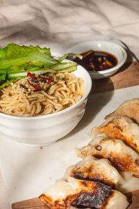 Green Curry Chicken Dumplings with Sesame Soy Noodles