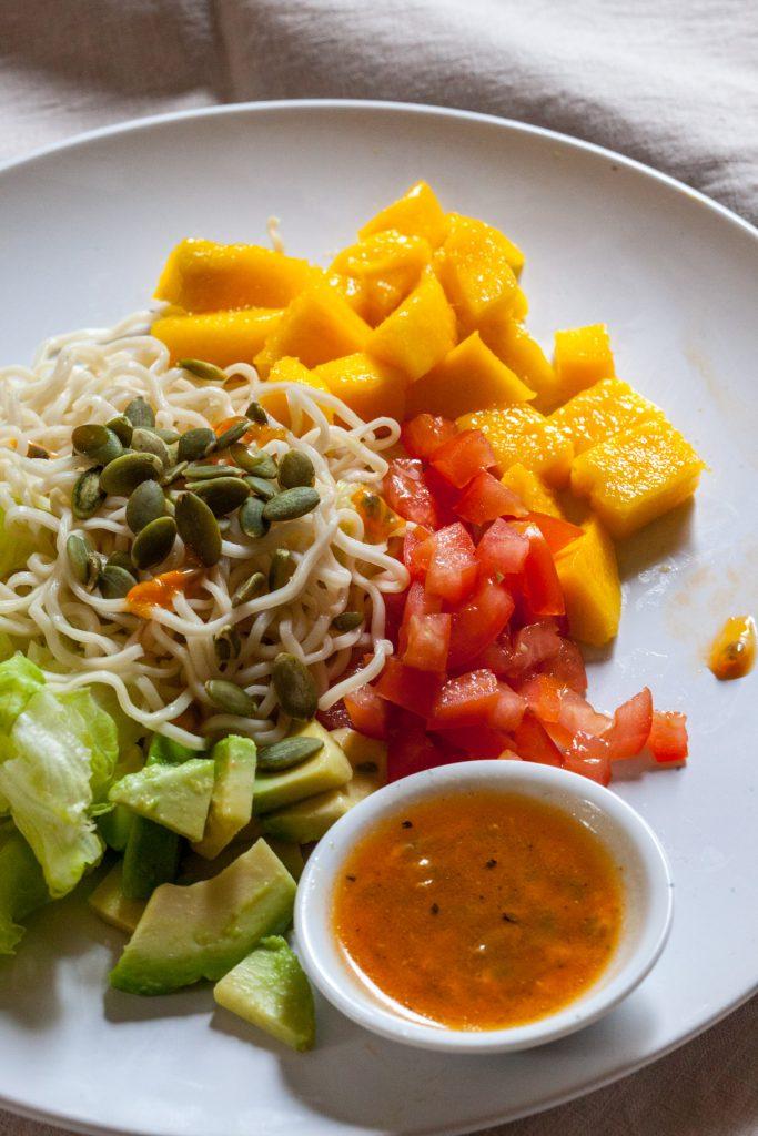 Mango and Avocado Salad with Passion Fruit Vinaigrette